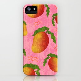 Tropical exotic sweet ripe summer mango fruits modern artistic bright sunny colorful pastel coral red distressed pattern design. iPhone Case