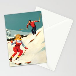 Retro Skiing Couple Stationery Cards