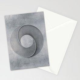 Geometrical Line Art Circle Distressed Shiny Blue Grey Stationery Cards