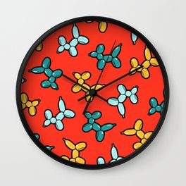 Balloon Animal Dogs Pattern in Red Wall Clock