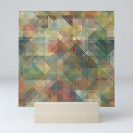 Chic Abstract Retro Triangles Mosaic Pattern Mini Art Print