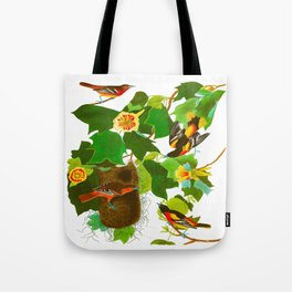 Baltimore Oriole James Audubon Vintage Scientific Illustration American Birds Tote Bag