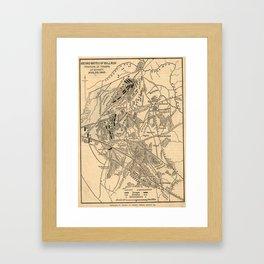 Vintage Battle of Bull Run Map (1886) Framed Art Print