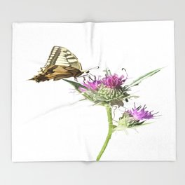 Scarce Swallowtail Butterfly Resting On Thistle Flower Throw Blanket