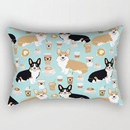 Corgis and coffee pillow phone case corgi gift cute cardigan corgi art Rectangular Pillow