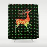 reindeer Shower Curtains featuring Reindeer by Saundra Myles