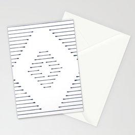 Boho Mudcloth dark blue lines Stationery Cards