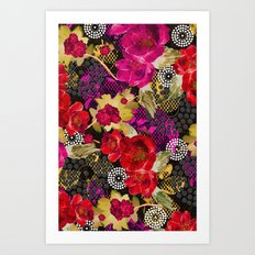 Flowers with Lace and Dots 2 Art Print