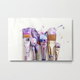 Six Dirty Paintbrushes (Photo) Metal Print