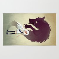 dark Area & Throw Rugs featuring Werewolf by Freeminds