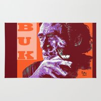 bukowski Area & Throw Rugs featuring Charles Bukowski - PopART by ARTito