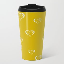 Polka Heart Party, Gold Travel Mug