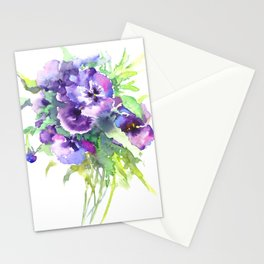 Pansy, flowers, violet flowers, gift for woman design floral vintage style Stationery Cards