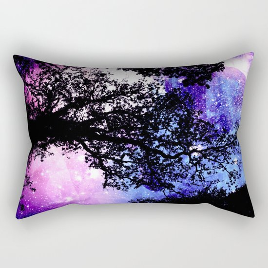 Black Trees Purple Space Rectangular Pillow