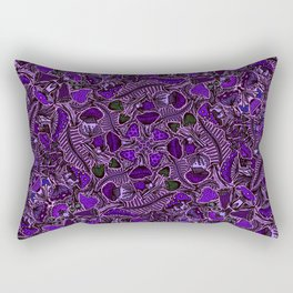 Ultraviolet Mushroom Wood, Field Ferns Leaves  in Lavender Purple Fungi Forest Painting Rectangular Pillow