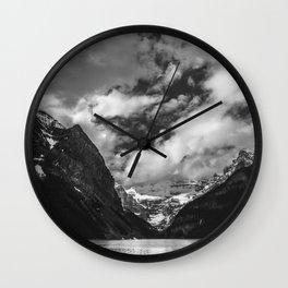 Lake Louise Black and White Minimalism Photography   Black and White   Photography Wall Clock