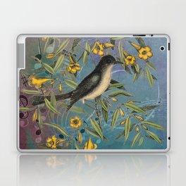 Flycatcher with Carolina Jasmine, Vintage Natural History and Botanical Laptop & iPad Skin