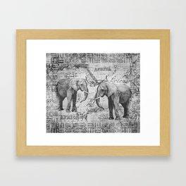 African Spirit Vintage Elephant black white Framed Art Print