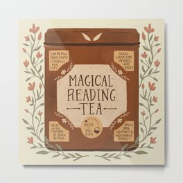 Magical Reading Tea Metal Print