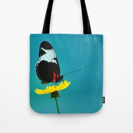 butterfly on yellow flower blue background Tote Bag