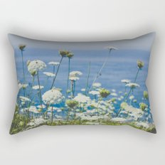 Flowers by the Beautiful Blue Sea Rectangular Pillow