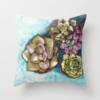 succulents Throw Pillows featuring Succulents by Kari Gale