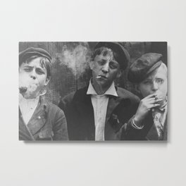 Hardscrabble City Newsboys Smoking Cigarettes black and white photograph Metal Print