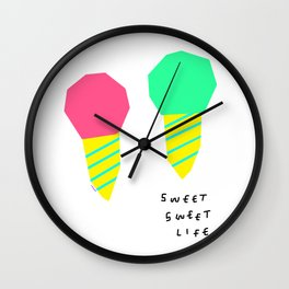 You and Me Sweet Sweet Life - ice cream illustration Wall Clock
