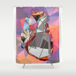 Geometry heart colorful Shower Curtain