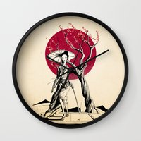 geisha Wall Clocks featuring Geisha by Rafapasta