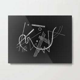 Kandinsky - Black Background Abstract art Metal Print