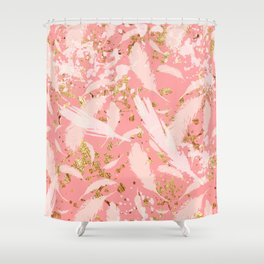 Feather peacock peach gold #9 Shower Curtain