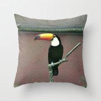 toucan Throw Pillows featuring Toucan by Lili Batista