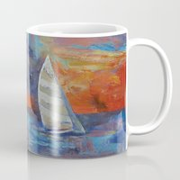 sailboat Mugs featuring Sailboat by Michael Creese