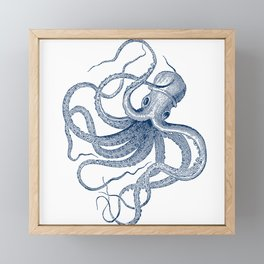 Blue nautical vintage octopus illustration Framed Mini Art Print