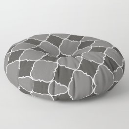 Pantone Pewter Ornamental Moroccan Tile Pattern with White Border Floor Pillow