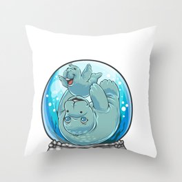 Mom Baby Manatee Snow Globe Sea Cow Calf Throw Pillow