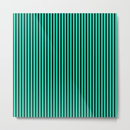 Striped black and turquoise 2 background Metal Print