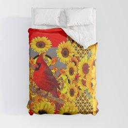 RED CARDINAL BIRD YELLOW SUNFLOWERS  ABSTRACT Comforters