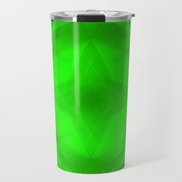Scalding triangular strokes of intersecting sharp lines with green triangles and a star. Travel Mug