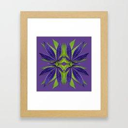 Marijuana Leaves Ultra Violet Pattern Framed Art Print