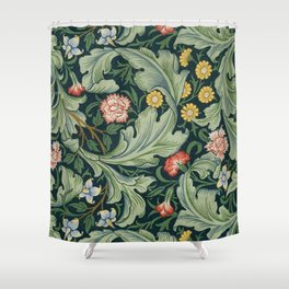 William Morris Leicester Herbaceous Italian Laurel Acanthus Textile Colorful Floral Pattern Shower Curtain