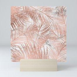 Tropical modern faux rose gold palm tree leaf white marble pattern Mini Art Print