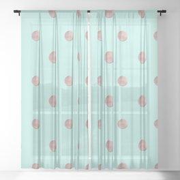 Happy Polka Dots Rose Gold on Mint #1 #decor #art #society6 Sheer Curtain