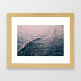 Pink Sunset Waves Framed Art Print