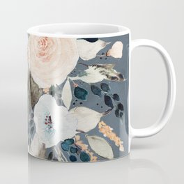 Loose Watercolor Bouquet on Blue Coffee Mug