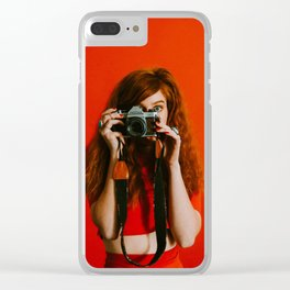 photographer in red Clear iPhone Case