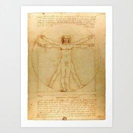Vitruvian Man, Da Vinci Art Print