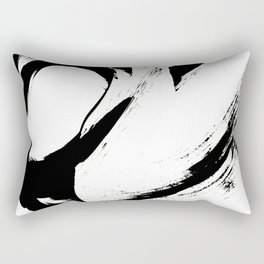Brushstroke 6: a minimal, abstract, black and white piece Rectangular Pillow