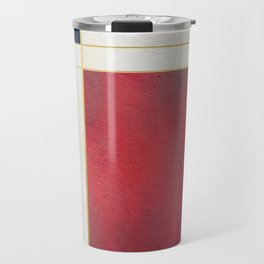 Blue, Red And White With Golden Lines Abstract Painting Travel Mug